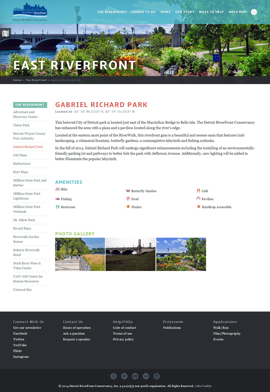 Detroit Riverfront Conservancy Location